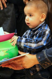 Draven Campbell receiving his first Imagination Library book.