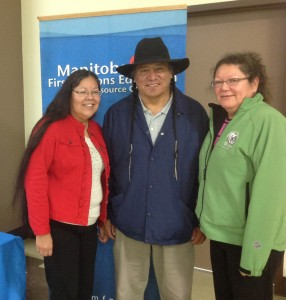 Janet Head and Rhonda Head, Event Coordinators for the National Cree Gathering with Senator Jonathan Windy Boy