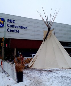 The Sacred Fire outside the Convention Centre in Winnipeg