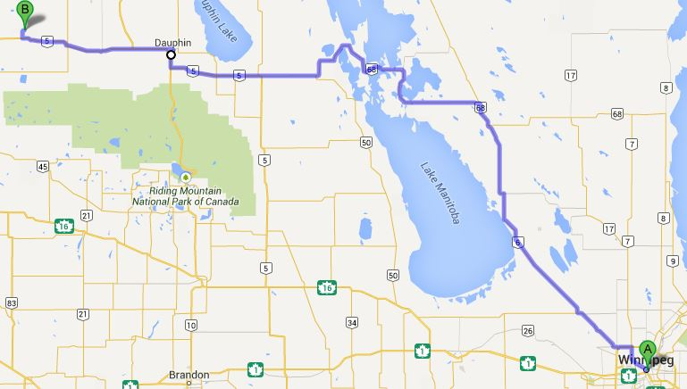Map from Winnipeg to Tootinaowaziibeeng