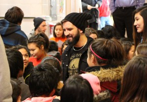Speaking with the students after the show